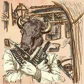 Gunman. Animal Shooter - Bison. Freehand sketching line drawing. An hand drawn vector illustration. Colored background is isolated. Line art technique. Colored. Vector is easy editable. poster
