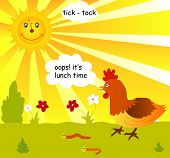 Illustartion of nature lunch time concept with sun hen and earthworms poster