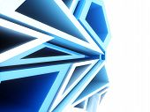 Abstract sport geometrical background with white and blue triangles poster