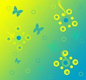Abstract art retro Spring flowers and butterflies. poster