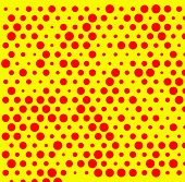 Dotted repeatable popart like duotone pattern. Speckled red yellow pointillist background. Seamlessly repeatable. poster
