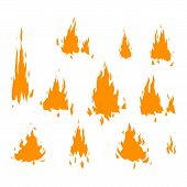 Fire flame hot burn vector icon. Warm danger fire flame and cooking yellow bonfire. Light blazing campfire ignite fire flame design and detail fireplace passion sign. poster