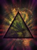 Illustration of an ominous mystical black triangle set against the nebulosity and stars of a deep space background. poster