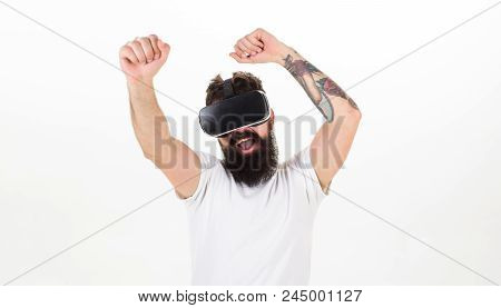 Man With Beard In Vr Glasses Dancing , White Background. Vr Gadget Concept. Hipster On Happy Face Ex