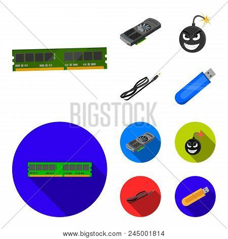 Video Card, Virus, Flash Drive, Cable. Personal Computer Set Collection Icons In Cartoon, Flat Style