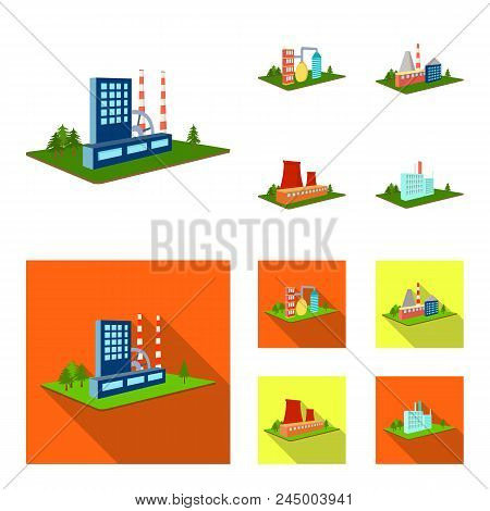 Processing Factory, Metallurgical Plant. Factory And Industry Set Collection Icons In Cartoon, Flat