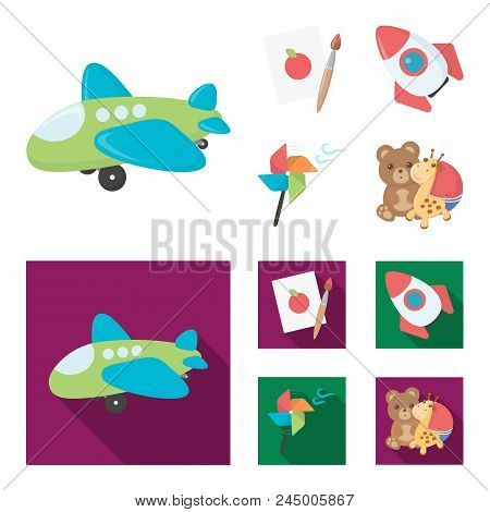 Children's Toy Cartoon,flat Icons In Set Collection For Design. Game And Bauble Vector Symbol Stock
