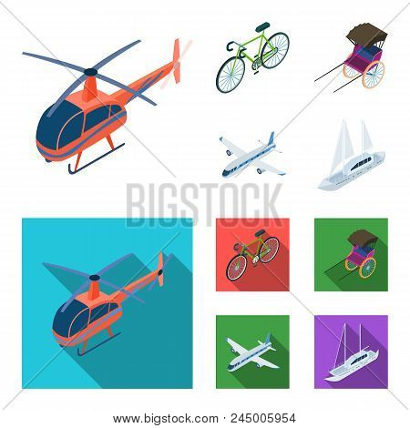 Bicycle, Rickshaw, Plane, Yacht.transport Set Collection Icons In Cartoon, Flat Style Vector Symbol