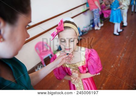 Mother Gently Touching Beautiful Daughter Face Concert In Russian Ballet School