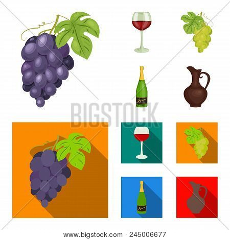 A Glass Of Red Wine, Champagne, A Jug Of Wine, A Bunch. Wine Production Set Collection Icons In Cart