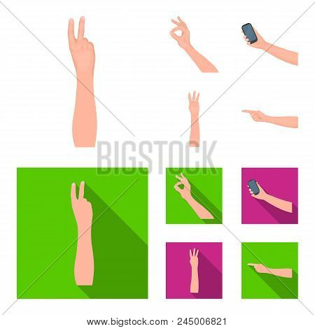 Sign Language Cartoon, Flat Icons In Set Collection For Design.emotional Part Of Communication Vecto