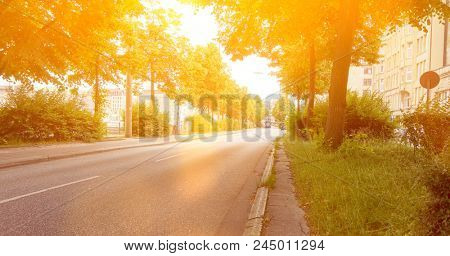 Empty road with roadside curb in Hamburg in summer