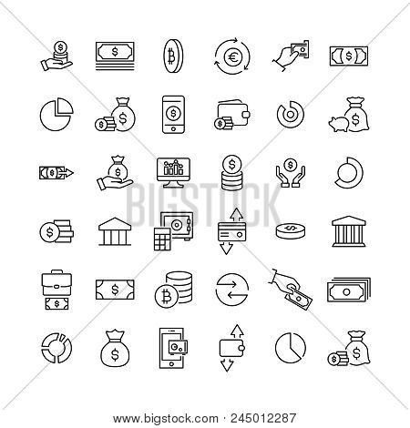 Simple Collection Of Money Related Line Icons. Thin Line Vector Set Of Signs For Infographic, Logo,