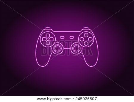 Neon Icon Of Purple Joystick. Vector Illustration Of Purple Wireless Gamepad Consisting Of Neon Outl
