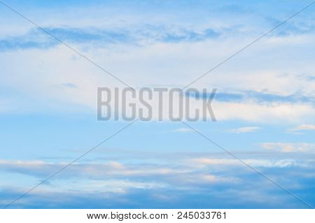 Blue Sky Sunrise Landscape With White And Pink Evening Clouds - Vast Sky View. Sky Landscape In Past