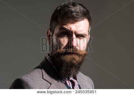 Confident Bearded Man In Stylish Retro Clothes. Vintage, Retro Style - Elegant Fashion Man With Bear