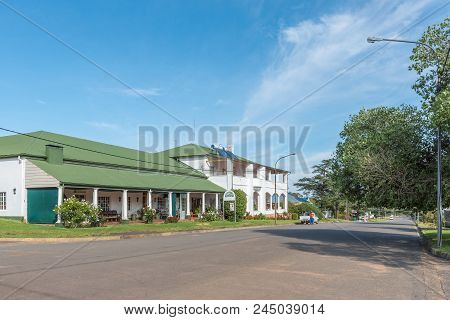 Lady Grey, South Africa - March 29, 2018: A Street Scene With The Mountain View Country Inn And Rest