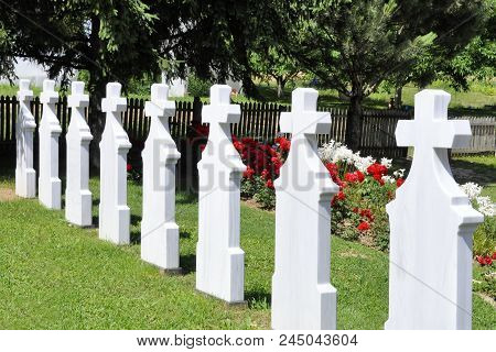 Crosses in cemetery. White gravestones going in perspective poster
