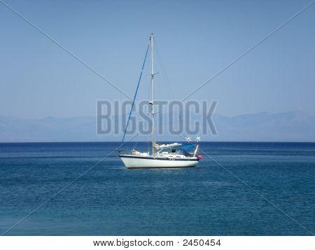 Yacht In Light Blue Aegean Sea