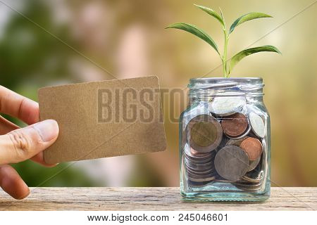 Saving And Invest Money Concept. Conceptual Hand Holding Brown Card Near The Glass Jar On Nature Bac