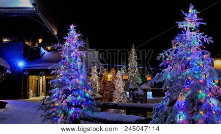 Christmas In Rovaniemi, Finland, Beautiful Light In The Night