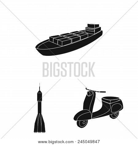 Different Types Of Transport Black Icons In Set Collection For Design. Car And Ship Vector Symbol St