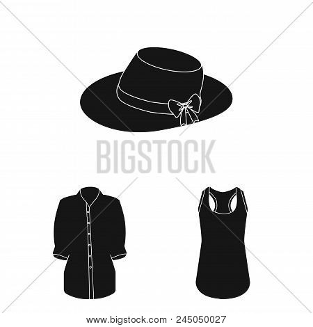 Women's Clothing Black Icons In Set Collection For Design.clothing Varieties And Accessories Vector
