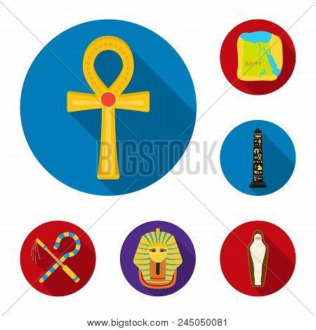 Ancient Egypt Flat Icons In Set Collection For Design. The Reign Of Pharaoh Vector Symbol Stock  Ill