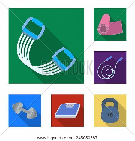 Gym And Training Flat Icons In Set Collection For Design. Gym And Equipment Vector Symbol Stock  Ill