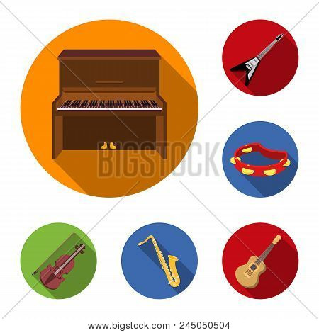 Musical Instrument Flat Icons In Set Collection For Design. String And Wind Instrument Vector Symbol