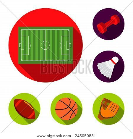 Different Kinds Of Sports Flat Icons In Set Collection For Design. Sport Equipment Vector Symbol Sto
