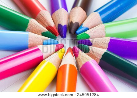 Set Of Color Pencils On White Background