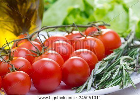 Fresh Italian Food Ingredients On White Plate