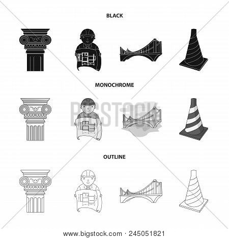 Column, Master With Drawing, Bridge, Index Cone. Architecture Set Collection Icons In Black, Monochr