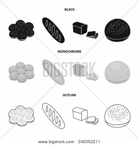 Cut Loaf, Bread Roll With Powder, Half Of Bread, Baking.bread Set Collection Icons In Black, Monochr