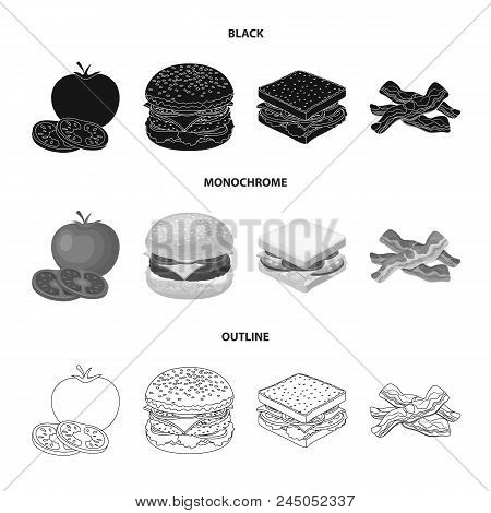 Burger And Ingredients Black, Monochrome, Outline Icons In Set Collection For Design. Burger Cooking