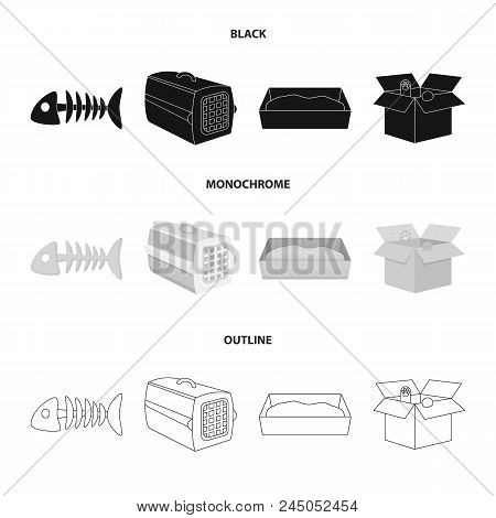 Fish Bone, Container For An Animal, Cat's Toilet, Cat In A Box. Cat Set Collection Icons In Black,mo