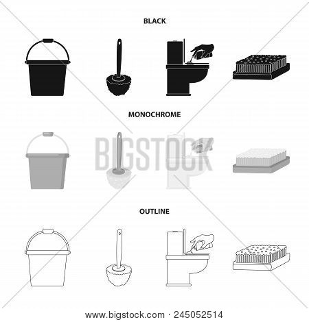 Cleaning And Maid Black, Monochrome, Outline Icons In Set Collection For Design. Equipment For Clean