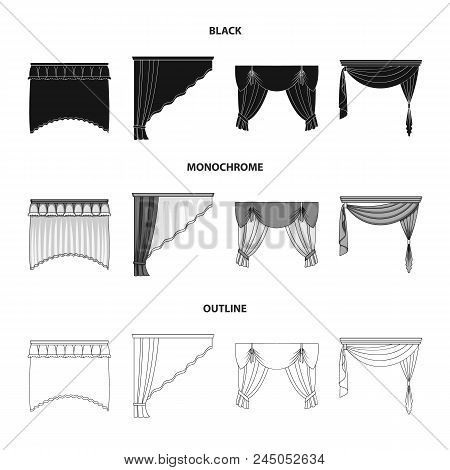 Different Types Of Window Curtains.curtains Set Collection Icons In Black, Monochrome, Outline Style