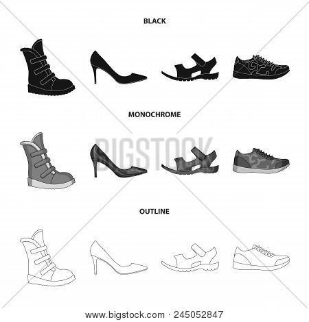 A Set Of Icons On A Variety Of Shoes.different Shoes Single Icon In Black, Monochrome, Outline Style