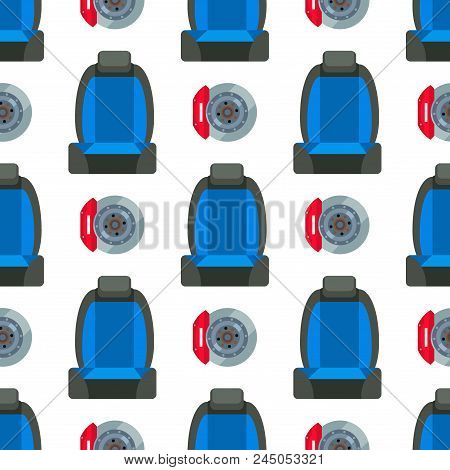 Child Car Seat Seamless Pattern Background Protection Security Vehicle Auto Belt Transportation Vect