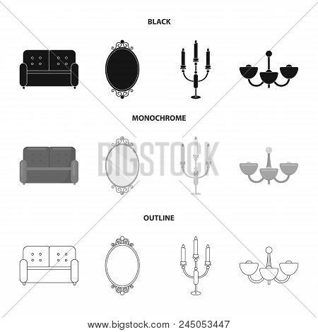 Sofa, Mirror, Candlestick, Chandelier.furniturefurniture Set Collection Icons In Black, Monochrome,