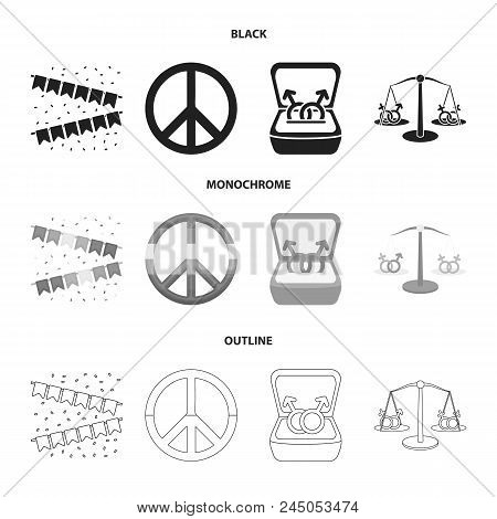 Flags, Rainbow, Emblem, Rings. Gay Set Collection Icons In Black, Monochrome, Outline Style Vector S
