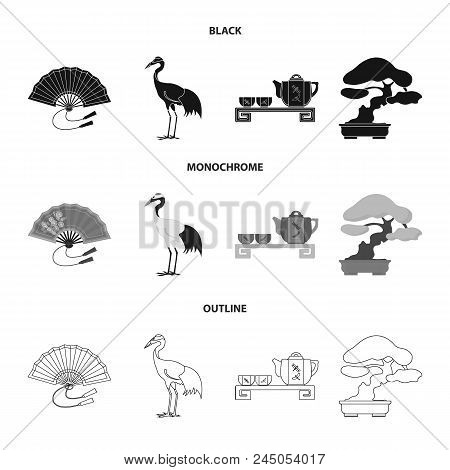 Fan, Red Crown Crane, Tea Ceremony, Bonsai.japan Set Collection Icons In Black, Monochrome, Outline