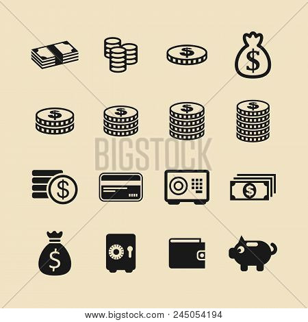 Money. Line Icon Vector. Payment System. Coins And Dollar Cent Sign Isolated On White Background. Fl