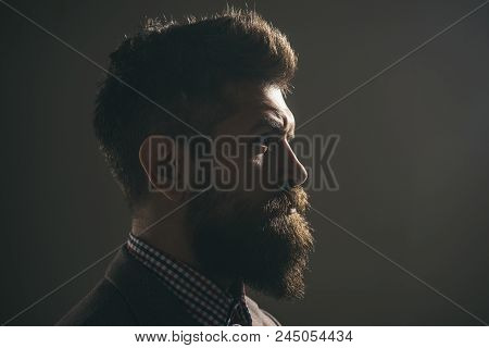 Advertising For Barbershop. Silhouette Of Handsome Vintage Man With Bushy Beard Wearing Stylish Retr