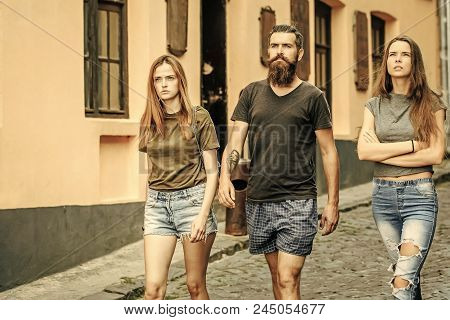 Summer Fashion, Style. Friends Walk On City Street, Vacation. Hipster With Girlfriends, Relations. L