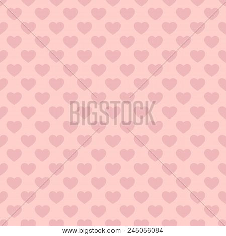 Hearts Seamless Pattern. Valentines Day Background. Vector Abstract Geometric Pink Texture, Repeat T