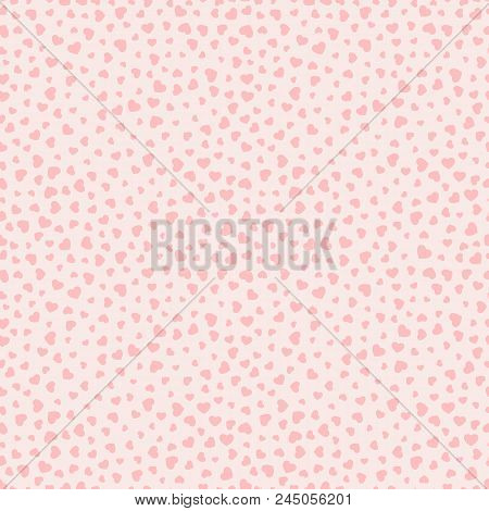 Pink Hearts Pattern. Valentines Day Background. Love Romantic Theme. Subtle Vector Abstract Seamless
