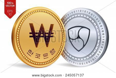 Nem. Won. 3d Isometric Physical Coins. Digital Currency. Korea Won Coin. Cryptocurrency. Golden And